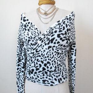 VTG Chic Animal Print Button Up Cardigan SIZE S/M